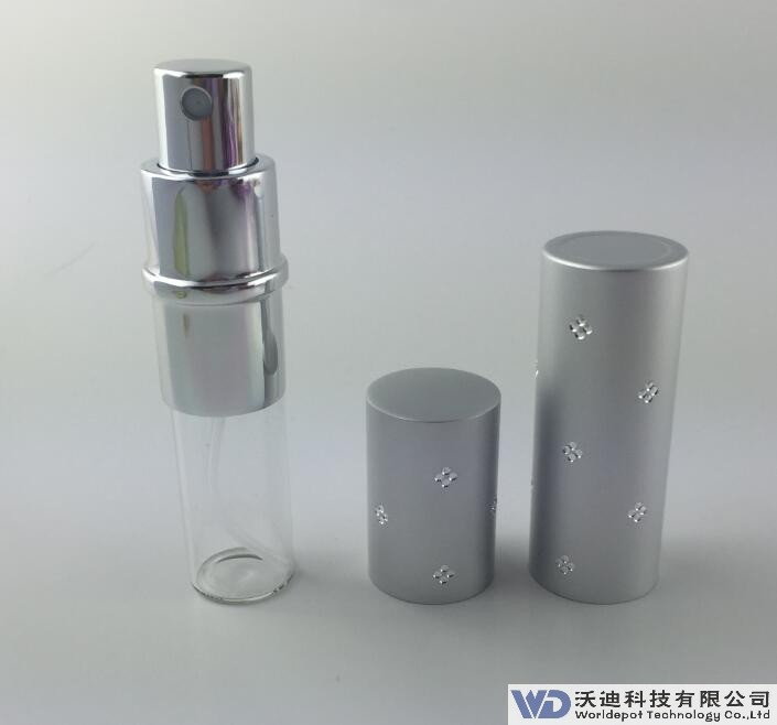 New Design Delicate Appearance 10ml Vacuum aluminum tube perfume spray bottle with stamping